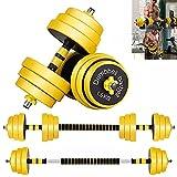 Juego de pesas con mancuernas ajustables para hombres, mujeres, mancuernas multifuncionales 4 en 1 con varilla de conexión, ejercicio libre, pesas de fitness, par de mancuernas