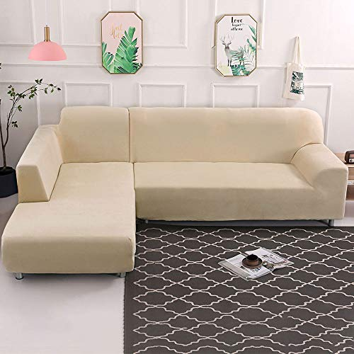 Dightyoho Funda de Sofa Elástica Chaise Longue Brazo Largo Derecho Cubre Sofá Modelo Acolchado Diseñada de Forma L Protector para Sofá de Terciopelo Grueso Color Sólido (Beige, 3 + 3)