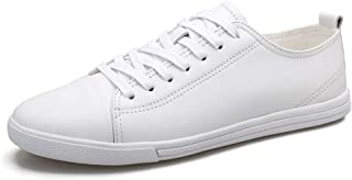 XUJW-Shoes, Fashion Sneaker for Men Sports Shoes Lace Up Style OX Leather Simple Pure Colors Lighteight Soft Durable Comfortable Walking Shopping Travel Driving (Color : White, Size : 6 UK)
