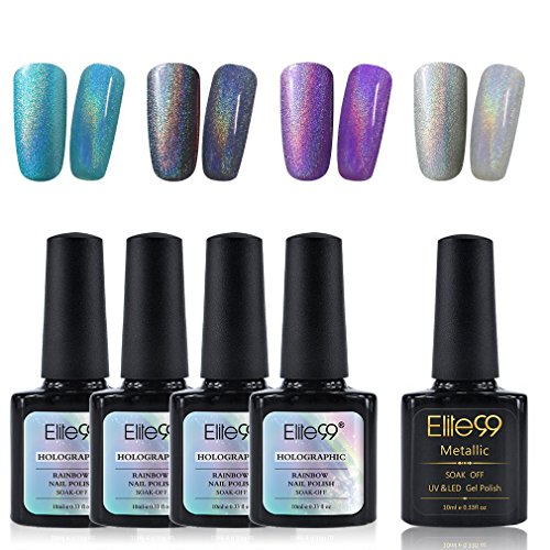 Elite99 Holographic Rainbow Nail Polish Set with Soak Off UV LED Metallic Top Coat Nail Varnish Art Decoration Manicure 5PCS (C001)