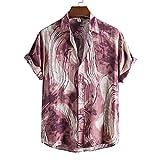 Camisa hawaiana de verano para hombre Camisas de playa con estampado floral de flores de manga corta con estampado de algodón puro,# (Color : Style 12, Size : XX-Large)