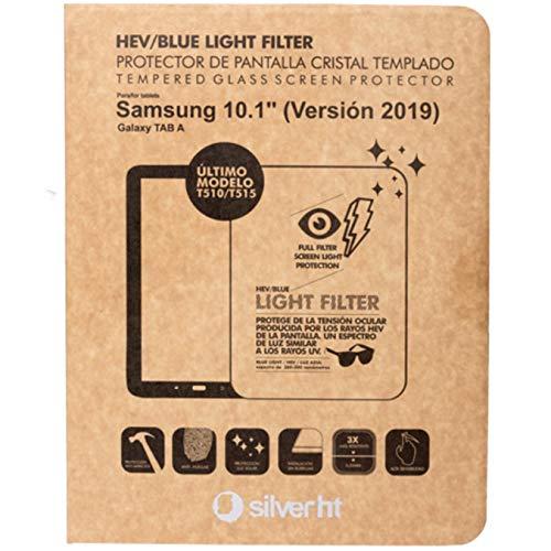 """Silver HT - Protector de Cristal Templado Blue Light para Tablet Samsung Tab A 2019 de 10,1"""" (T510/T515) Fácil de Instalar y sin Burbujas"""