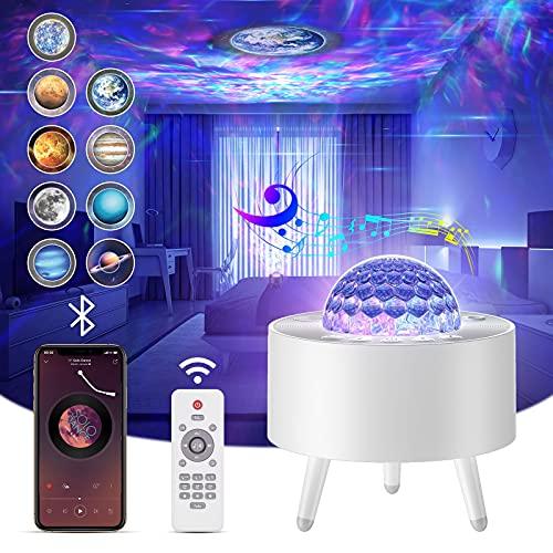 Lampada Proiettore Stelle,Proiettore Stelle Soffitto con 15 Rotazione Oceano Luci Modalità,LED Luce Notturna con Bluetooth/Telecomando/Timer,per Bambini,Neonati,Adulti, Compleanno,Natale,Regalo-Bianco