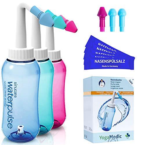 Nasendusche Set 300ml YogaMedic® Blau - 30x Nasenspülsalz 100{658d3a7783ba8392b36d9a142122f4b747e7baeb8e8fe1feafbcf8ebf4c9e9c9} aus Deutschland - 4 Aufsätze zur effektiven Nasenreinigung - bei Erkältung Schnupfen Allergie Trockene Nase