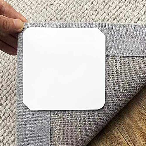 Rug Gripper, 10 PCS Washable Reusable Non Slip Rug Grippers, Anti Curling Corner Carpet Tape, Keep Area Rugs Flat on Hardwood Floors