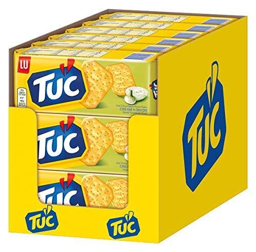 TUC Sour Cream & Onion 18 x 100g - Fein gesalzenes Knabbergebäck mit Sauerrahm-Zwiebelgeschmack