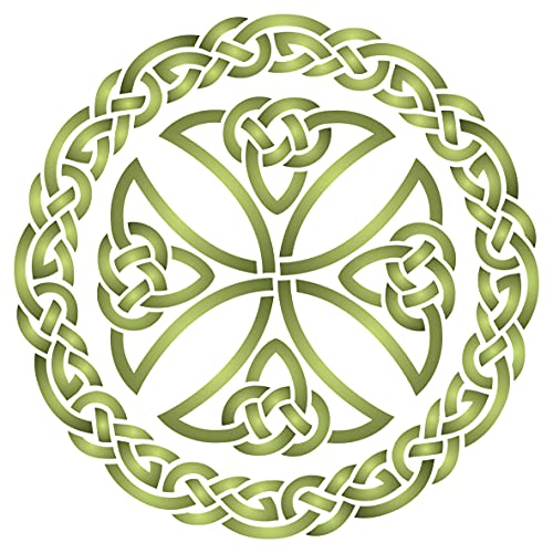Stencils for Walls: Celtic Cross Stencil, 10 x 10 inch (L) - Irish Celts Viking Cross Ornament Knotwork Design Woven Ethnic Braided Protection Knot Stencils for Painting Template