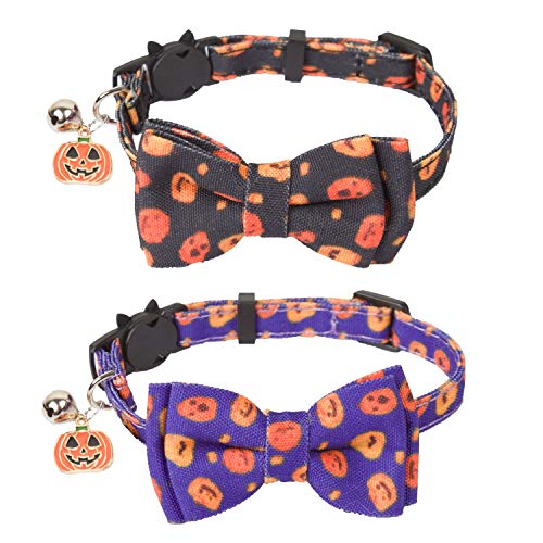 Halloween Cat Collar Breakaway with Bowtie Bell - 2 Pack Kitten Collar Pumpkin Print Kitty Collar...