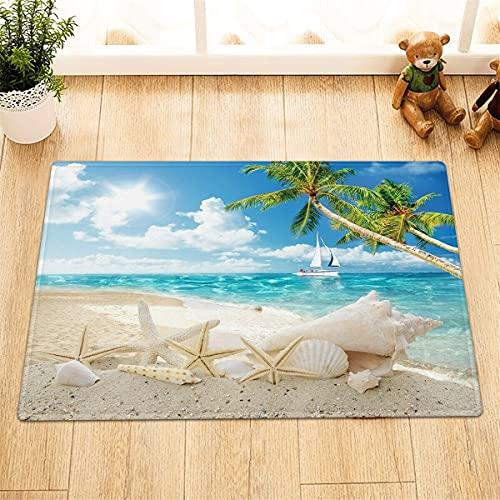 Verano playa palmera vela estrellas de mar interior antideslizante puerta estera, alfombra de baño, patrón de alta definición 45* 75cm, decoración del hogar
