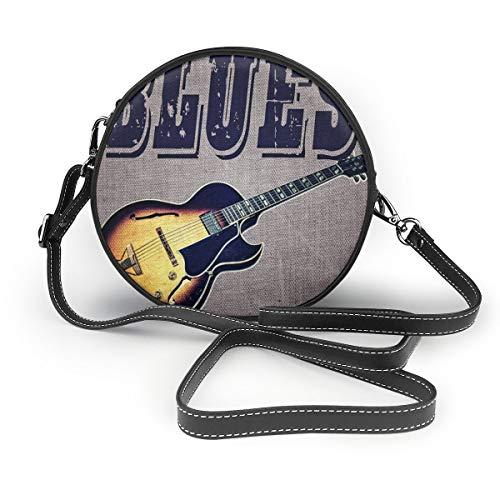 Retro-Gitarren-Schultertasche, rund, Echtleder, Messenger-Tasche, Vintage-Stil, verstellbarer Schulterriemen für Damen