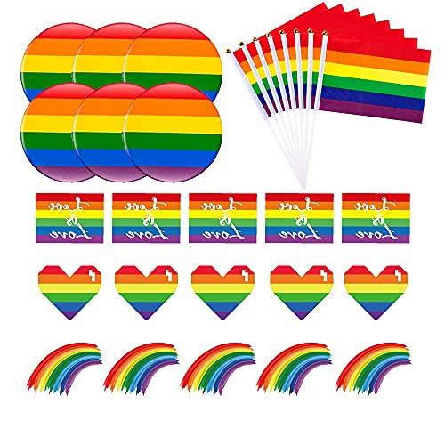 Favson Set Arcobaleno Gay Pride, 16 Bandierine Stick Palmari LGBT, 6 Spille Arcobaleno e 30 Adesivi Gay Pride, 52 Pezzi Set per Celebrazione Gay Pride Parade e Abbigliamento Quotidiano