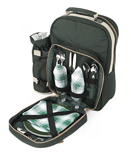 The Greenfield Collection BP2DGH Luxus Picknick Rucksack für Zwei Personen, grün