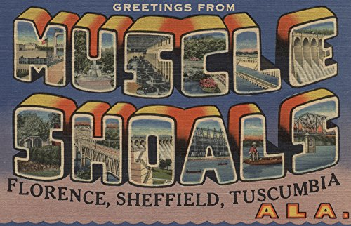 Greetings from Muscle Shoals, Alabama (12x18 Art Print, Travel Poster Wall Decor)