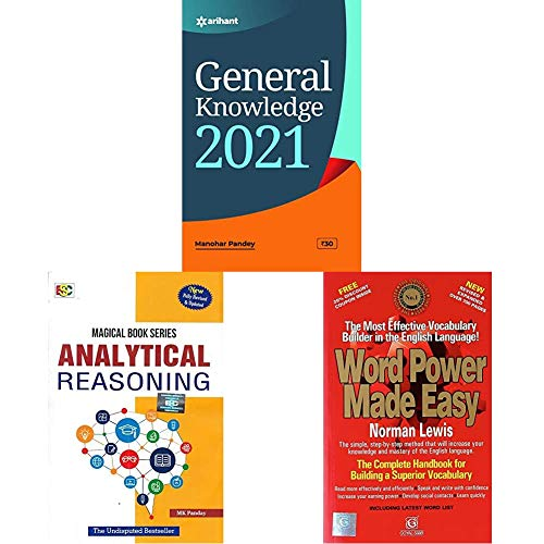 General Knowledge 2021+Analytical Reasoning (2018-2019) Session by MK Panday+Word Power Made Easy(Set of 3 books)