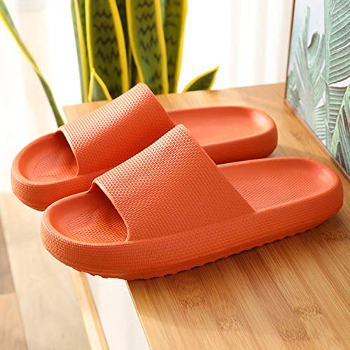 Pantuflas antideslizantes de plataforma de secado rápido con plataforma de deslizamientos de almohada, muy suaves para el hogar, para mujer, naranja-38/39