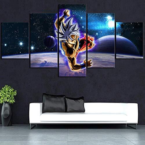 FJLOVE 5 Piezas Lienzos Cuadros Pinturas Dibujos Animados Dragon Ball Super Instinct Goku Impresiones En Lienzo Decoración para El Arte De La Pared del Hogar,B,20x35cm*2+20x45*2+20x55*1