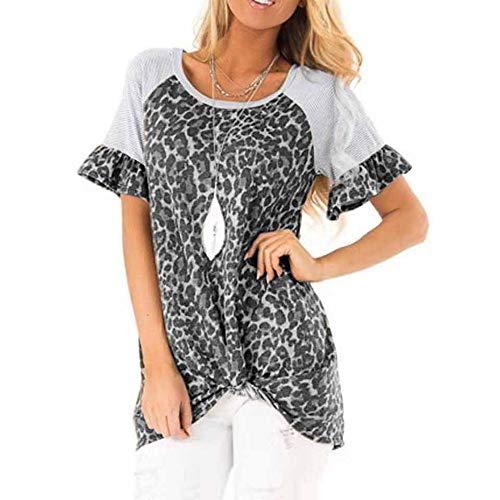 T-Shirt Damen Kurzarm Frühling und Sommer Neue Damen Rundhals Leopard Ausgestellt Ärmel