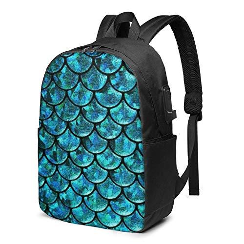 Reise-Laptop-Rucksack, Fisch-Drachen-Waage Reise-Laptop-Rucksack College-Schultasche Lässiger Tagesrucksack mit USB-Ladeanschluss