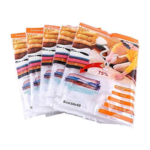 Bolsa De Almacenamiento Al Vacío, 5 Piezas/Paquete Bolsas De Almacenamiento Comprimidas Al Vacío para El Hogar para Edredones, Mantas, Almohadas para Ropa, 50 X 60 Cm