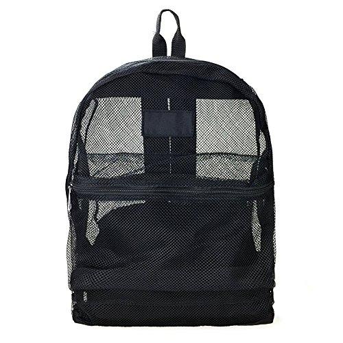 Artone Malla Ver A Través De Playa Mochila Casual Colegio Daypack con La Bolsa De Traje De Baño Bikini Conjunto De 2 Negro