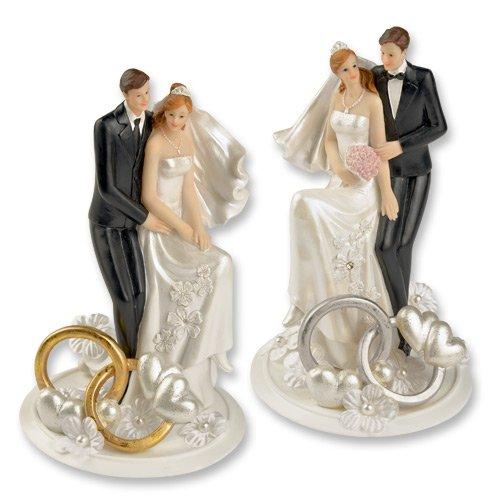 Meggy's polyhars opzetstuk bruidspaar met trouwringen en bloemendecoratie goud, taartdecoratie