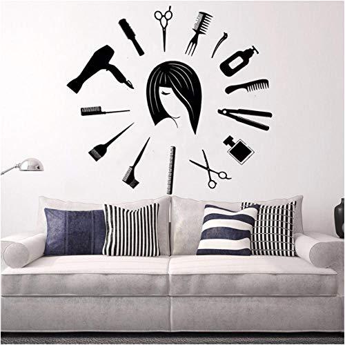 Xxscz Barbershop Gereedschap Vinyl Muursticker Klok Vorm Haar Knip Muursticker Haar Studio Decoratie Barbers Wall Window Art Poster