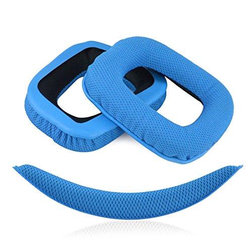 Geekria Almohadillas de Repuesto para Auriculares Logitech G430 G930 Headphones + Replacement Headband,Auriculares Almohadillas , Headphone Ear Covers (azul)