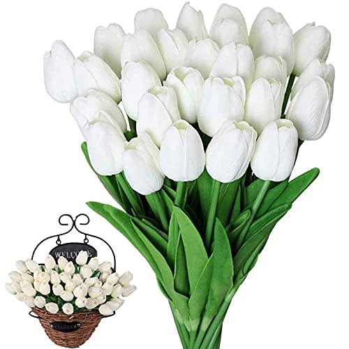 Tulipán Artificial PU Tulipán Blanco de Látex Tulipán Artificial de Látex Tulipán Artificial Champán Flores de Tulipanes Artificiales Tacto Real 10 Piezas para Casa Hotel Decoración de Jardines