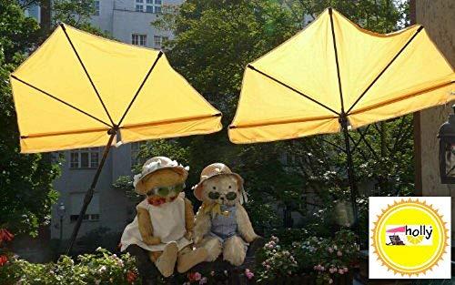 NEUES MODELL - Hollymat ® - STABIELO - Balkon-Fächer-Sonnenschirm 140 x 70 cm Farbe gelb mit der patentierten Holly ® - 5 fach Radius und 360 ° verstellbare MULTI - Halterung® STGVC 5530 (35 EUR) mit Gummischutzkappen - für runde oder eckige Balkongeländer und alle anderen Produkte (Stühle-Tische-Liegen- Geländer Relingen) - mit einem Ø bis - 55-60 mm - holly sunshade -VIDEO: B007MCZMDO