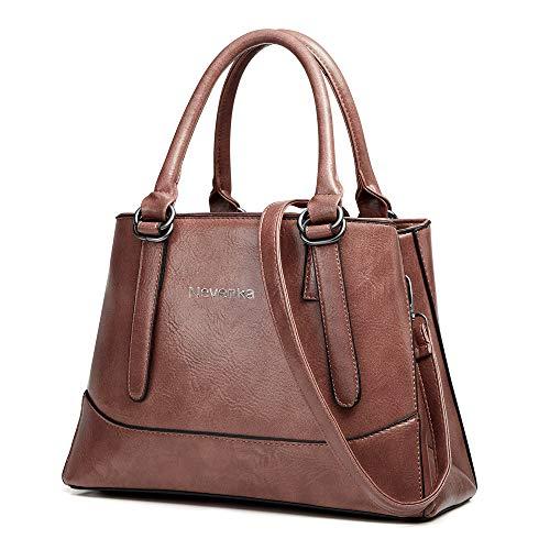Nevenka PU Leather Women Cross Body Shoulder Bag Satchel Handbags Top-handle Bag Tote Bag (Pink)