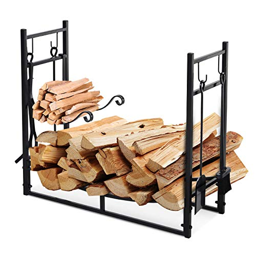 Best Review Of Firewood Log Rack Holder with Tools Indoor Outdoor Wrought Iron 33 L