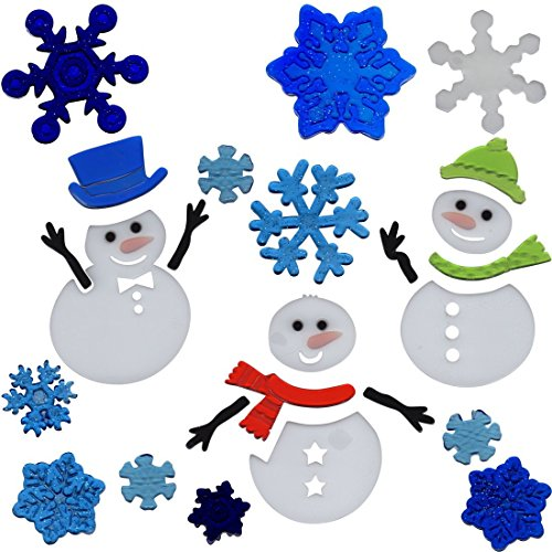 Gel Charms Christmas Window Clings Snowman and Snowflakes