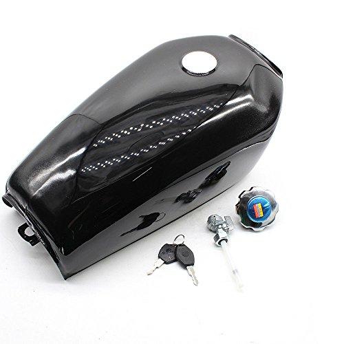 Motorcycle Fuel Gas Tank, 4 Colors 2.4 Gallon 9L Motorcycle Fuel Gas Tank Cap Kit for Honda CG125 (US STOCK) (Gloss Black)