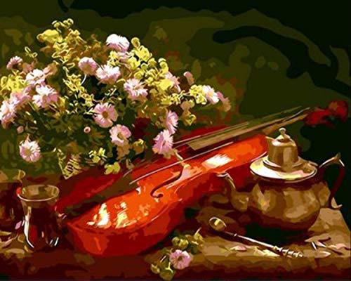 Frameloze foto's schilderij door cijfers, Stilleven Bloem en viool Schilderen Muurschildering Afbeelding, Europese Stijl Hand Geschilderd 40x50cm