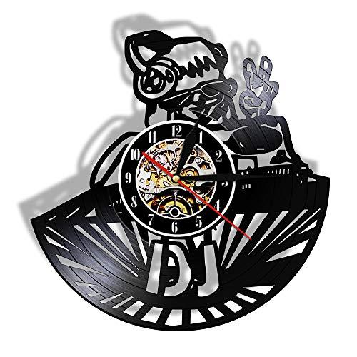 DJ stripfiguur Vinyl Record LP Wandklok DJ Mixer Gepersonaliseerde naam Wandhorloge Nachtclub Disco Wanddecoratie Custom DJ Gift-Without_LED