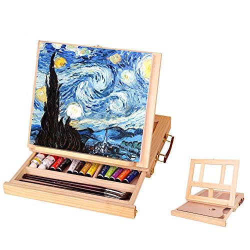 Gong Caballete De Mesa De Madera Estante De Exhibición De Pintura De Boceto Ajustable con Cajones Utilizado para Bodas Al Aire Libre Exhibición De Estudio.