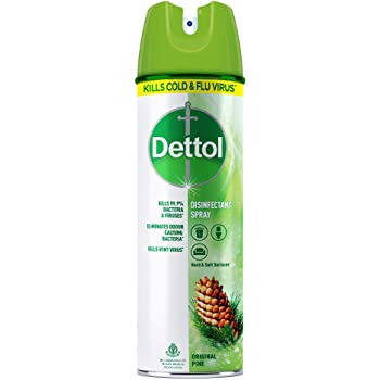 Dettol Disinfectant Spray Sanitizer for Germ Protection on Hard & Soft Surfaces, Original Pine, 225ml