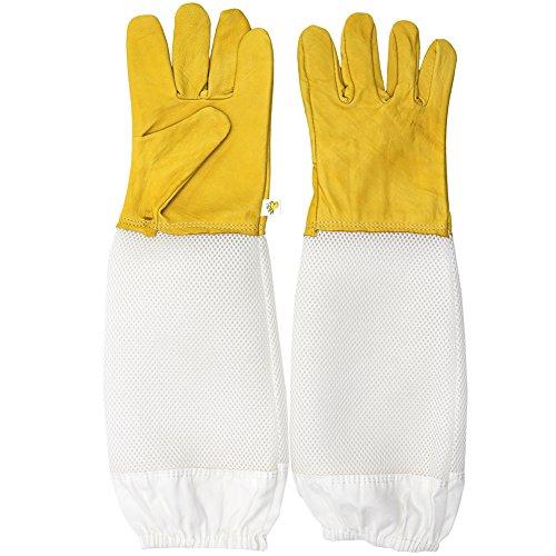 Farm & Ranch Imker-Handschuhe, belüftet, Schaffell und Segeltuch, Handschuhe für Männer und Frauen, mit langen Netz-Ärmeln, Imkereiausrüstung