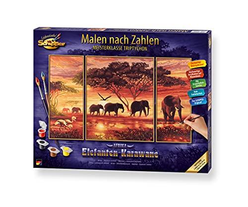 Schipper 609260455 Malen nach Zahlen, Elefantenkarawane - Bilder malen für Erwachsene, inklusive Pinsel und Acrylfarben, Triptychon, 50 x 80 cm