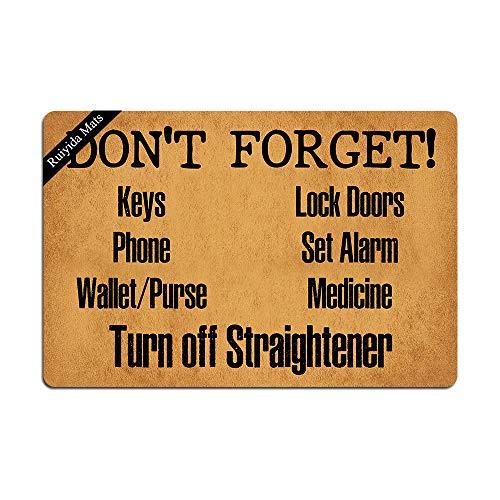 Ruiyida Keys Phone Wallet Purse Lock Doors Set Alarm Medicine Turn Off Straightener Entrance Floor Mat Funny Doormat Door Mat Decorative Indoor Non-Woven 23.6 by 15.7 Inch Machine Washable Fabric Top