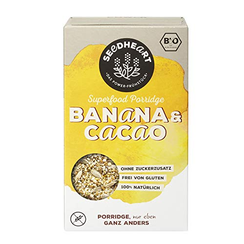 Seedheart Bio Superfood Porridge Banana Cacao 250g | ohne Hafer | Glutenfrei | Ohne Zucker | Buchweizen Lupinen Hirse Amaranth Quinoa