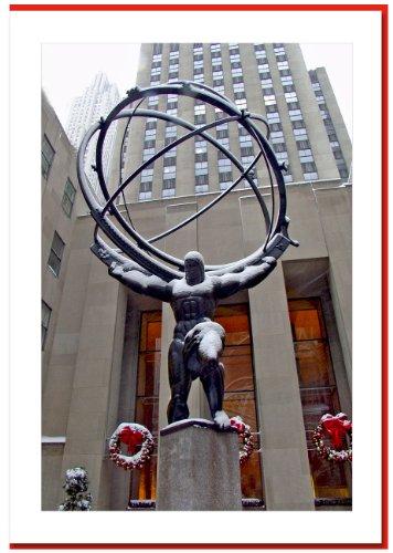 Atlas Statue at Rockefeller Center, New York - Handmade Christmas Photo Greeting Cards