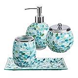 Bathroom Accessories Sets Glass Mosaic 4pcs (Blue/Green/White) w Liquid Soap/Lotion Dispenser, Cotton Jar, Toothbrush Holder, Soap Dish for Housewares
