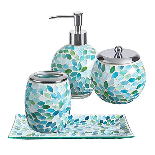 KMWARES Mosaic Glass Decorative Bathroom Accessories Set 4PCs - Includes Hand Soap Dispenser & Cotton Jar & Toothbrush Holder & Vanity Tray - Mixed Color with Blue, Green, White
