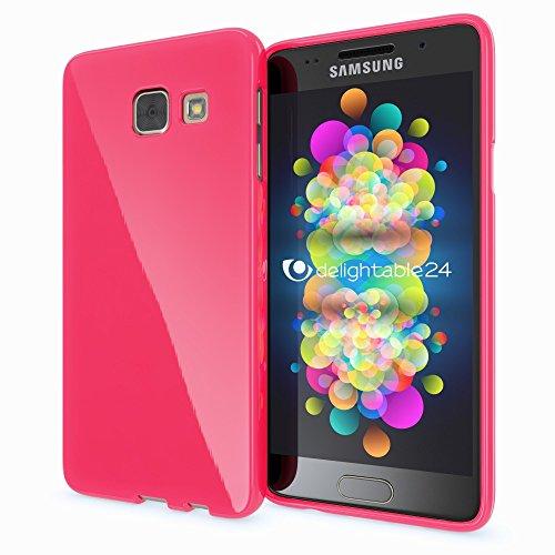 NALIA Custodia compatibile con Samsung Galaxy A3 2016, Cover Protezione Ultra-Slim Case Protettiva Morbido Cellulare in Silicone Gel, Telefono Gomma Jelly Smartphone Bumper Sottile - Pink Rosa