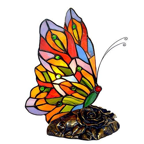 Mariposa Estilo Tiffany Decorativo Lámpara Escritorio,Vidrieras Por Otra Parte Lámpara Lámpara De Mesa,Dormitorio Niños's Lámpara Regalo Luz Nocturna-Mariposa 20 * 22cm
