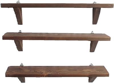 木目のきれいなウォールシェルフ 3点セット (ウォールナット) 飾り棚 壁掛け 木製 壁 棚 DIY 石膏ボード おしゃれ アンティーク ハンドメイド (ウォールナット)