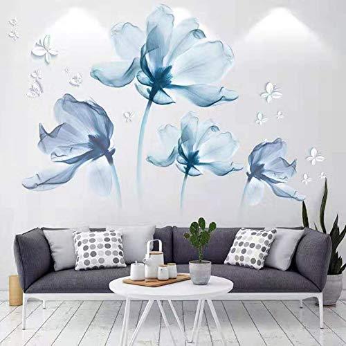 MMLXHH Adesivo da Parete 3D Blu Fiore Farfalla Soggiorno Decorazione Camera da Letto Matrimoniale Vinile Adesivi murali Decorazioni per la casa Moderne Decorazioni per la casa Poster da Parete