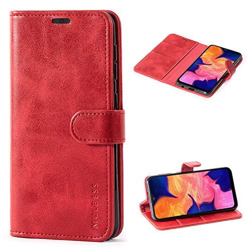 Mulbess Handyhülle für Samsung Galaxy A10 Hülle, Leder Flip Case Schutzhülle für Samsung Galaxy A10 / M10 Tasche, Wein Rot