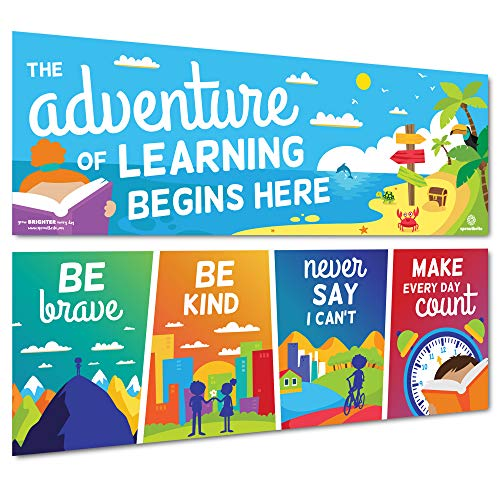Sproutbrite Classroom Decorations - Posters and Banners for Teachers - Bulletin Board and Wall Decor for Pre School, Elementary and Middle School